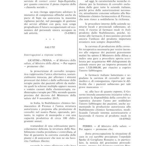 INTERROGAZIONE A RISPOSTA SCRITTA SULLA CANNABIS TERAPEUTICA