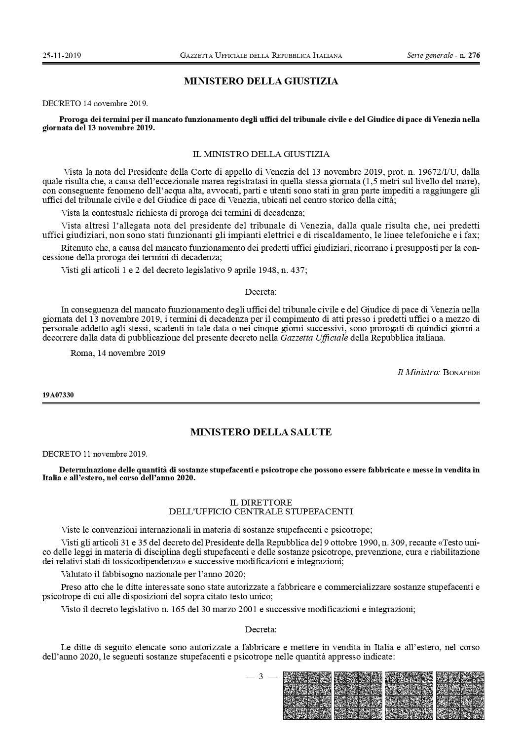 CANNABIS AD USO TERAPEUTICO- pubblicato sulla gazzetta ufficiale il Decreto 11 novembre 2019